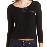 Zipper Pocket High-Low Top by Charlotte Russe