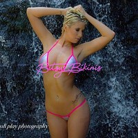 Micro G-String - Holographic Silver- Neon Pink String