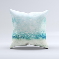 The Teal and Aqua Unfocused Sparkling Orbs ink-Fuzed Decorative Throw Pillow