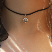 Sun choker necklace silver sunflower 90s choker necklace on black cord