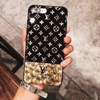 LV Louis Vuitton Trending Women Men Electroplating phone 6 6s 7 7plus 8 X iPhone Phone Cover Soft Case Soft Shell I