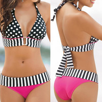 2017 Sexy Women Swimwear Halter Bandeau Bikini Set Two Piece Push-Up Padded Female Dot design Bra Swimsuit Beach Bathing Suit