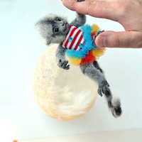 Needle felted marmoset monkey. BJD from wool. Animal portrait. Collectible toy. OOAK doll. Funny gift.
