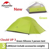 DHL free shipping  NatureHike factory sell tent 1.8kg 3 Person 20D Silicone Fabric Double-layer Camping Tents Outdoor Tent