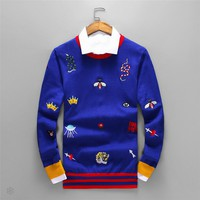 GUCCI 2018 autumn and winter new striped embroidery classic bee tiger head logo long sleeve sweater Blue