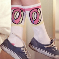 deals] Men Women brand odd future donuts wool cotton Long Socks fashion Hiphop Cotton Skateboard fixed gear stockings Sport meias Socks zkcuncle [7656250502]