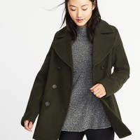 Classic Wool-Blend Peacoat for Women|old-navy