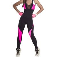 NORMOV Women Jumpsuit Sexy Bodycon Wear Hot Backless Summer Fitness Clothes Patchwork Polyester Feminina Workout Jumpsuit