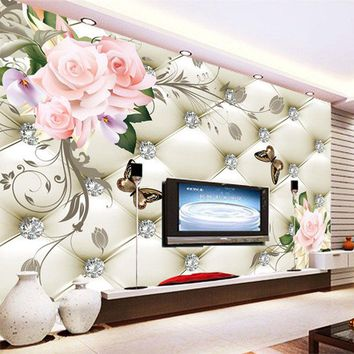European Style Soft Pack Butterfly Flower 3D Mural Wallpaper Living Room Bedroom Landscape Decor Wall Painting Luxury Wall Paper