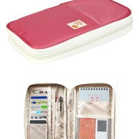 Large Zippered Passport and Travel Document Organizer Wallet with Wristlet (Salmon Pink)