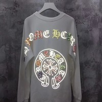 """Chrome Hearts"" Women Reflective Solid Color All-match Fashion Diamond Letter Logo Embroidery Long Sleeve Sweater Tops"
