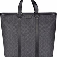 Gucci Men's XL GG Supreme Coated Canvas Top Zip Tote Bag (Black/Grey)