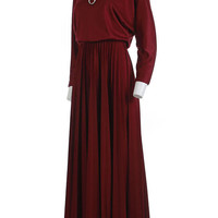 "Red Maxi Dress 70s Disco Clothing Burgundy Pleated Dress Long Sleeve Modest A-Line Maxi Dress Vintage Clothing Women's XS-S // 22""-28"" Waist"