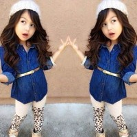 Hot Fashion Kids Girls Baby Denim Two-Piece Suit Outfits Tops Legging Pants 1~7T = 5617064321