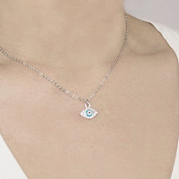 Tiny Evil Eye Baby Blue Necklace, Silver Necklace, Open Heart Key, Rhinestone Charm Necklace, Woman Accessories, Women Gifts