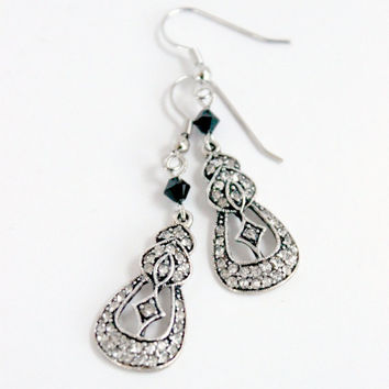 Downton-Abbey Inspired Swarovski Black and Silver Crystal-Encrusted Dangle Earrings - 20s-Style Handmade Jewelry - Ready to Ship