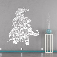 Indian Elephant Wall Decals Family Decal Vinyl Sticker Bohemian Bedding Boho Decor for Home Yoga Studio Bedroom Art T31