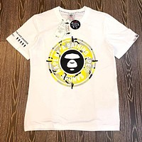 BAPE AAPE Newest Stylish Women Men Casual Letters Print T-Shirt Top Blouse White