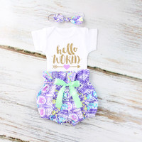 Hello World Baby Take Home Outfit | Purple Aztec High Waisted Bloomers outfit with Sparkly Gold Hello World and Purple Heart Arrow