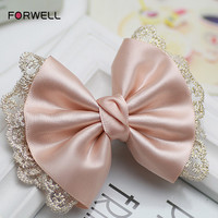 Women Girls Bow Lace Hair Pins Wedding Hair Accessories Pink Bowknot Tiara Head Flower New Arrival Hair Clip Tiara Bride Jewelry