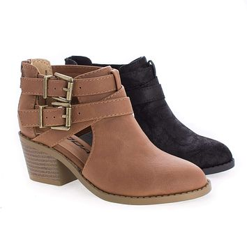 ScribeIIS By Soda, Children Girls Cut Out Multi Strap Faux Wooden Heel Ankle Boots