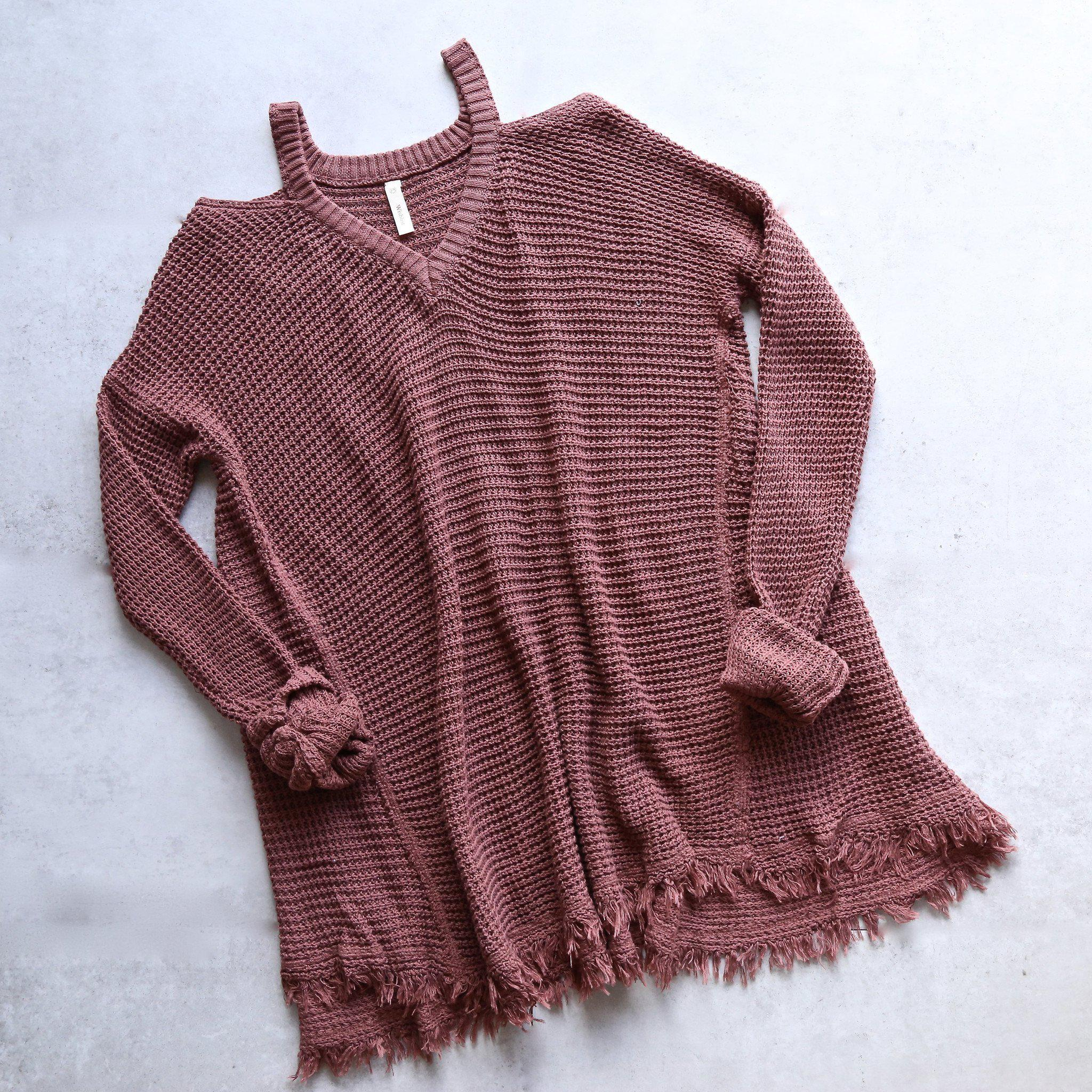 Image of oversize thermal sweater with cold shoulder - dark brick