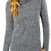 Grey Heathered Side Slit Turtleneck Knit Sweater