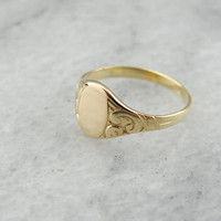 Victorian Era Signet Ring, Pinky or Midi Ring in Yellow Gold 8AV6EH-R