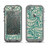 The Delicate Green & Tan Floral Lace Apple iPhone 5c LifeProof Nuud Case Skin Set