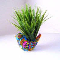 Ceramic Bird Planter Folk Art Day of the Dead Home Decor Vase Painted Tattoo turquoise orange pink yellow - READY TO SHIP