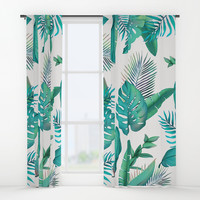 Tropical leafs pattern Window Curtains by printapix