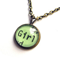Limited Edition Mint Green Girl Mini Pendant Librarian Brass Setting Library Card Necklace by The Written Nerd