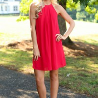 Everly Nicely Done Red Pleated Dress
