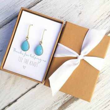 CLEARANCE Blue Glass Drop Earrings