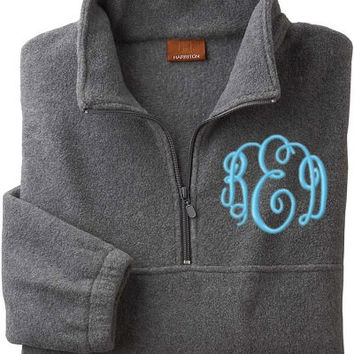 Monogrammed Quarter-Zip Pullover Fleece Jacket. Unisex Monogrammed Jacket. Winter Jacket. Adult Size Personalized Jackets. Extended Sizes