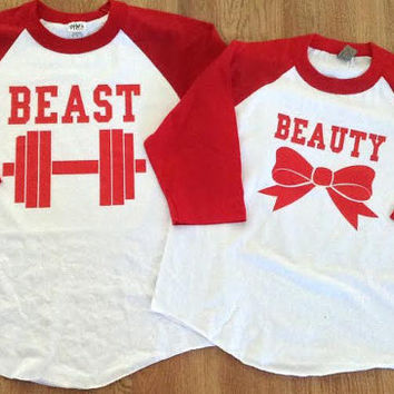 Free/Fast  Shipping for US Beauty and The Besat 3/4 Long Sleeve Baseball Couples T-Shirts