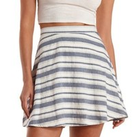 White/Blue Striped Cotton Skater Skirt by Charlotte Russe