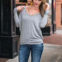 V Is For Vacay Top, Gray