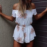 Boat Neck Short Sleeve Print Jumpsuit Rompers