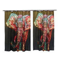 Hot Elephant Printing Shower Curtain Waterproof Mildewproof Polyester Fabric Bath Curtains Bathroom Product W/ 12 Hooks Gift