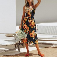 Plus Size Summer Party Dress Women Boho Sunflower Print Button Beach Dresses Spaghetti Strap Casual Dress Clothes for Women