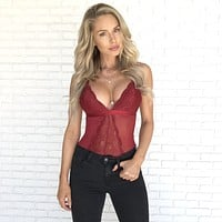 Appealing Lace Bodysuit in Wine