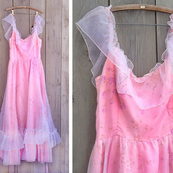 Vintage dress   1970s pink frilly evening gown princess prom dress