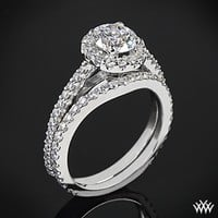 "18k White Gold ""Amphora"" Diamond Engagement Ring and Diamond Wedding Ring"