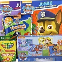 Bundle - 5 Items: Nickelodeon Paw Patrol 4-puzzle Pack, 2 Paw Patrol Coloring and Activity Books, Paw Patrol Grab & Go Play Pack, Pack of 24 Crayola Crayons