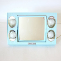 vintage blue Mirror Go Lightly dresser mirror / magnifying make up or shaving mirror with lights