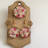 Brass floral set of adjustable rind and earring