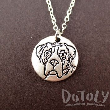 Round Engraved Boxer Dog Portrait Pendant Necklace | Animal Jewelry