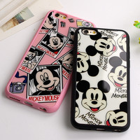 Sweetheart Mickey Minnie Mouse black Silicone Phone Cover Mirror Case For Apple iPhone 7 6 6S 4.7''/ 6 7 Plus 5.5'' 5 5S SE Capa
