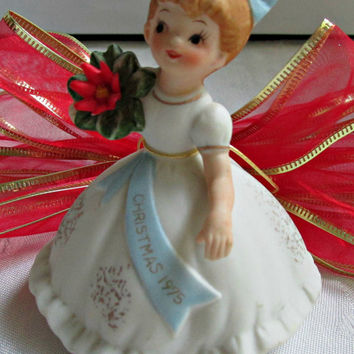 Bisque Porcelain Handpainted Figurine December 1975 Little Girl Christmas Collectible